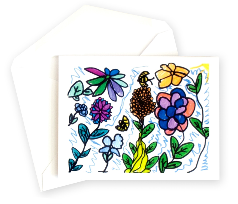 A note card featuring flower artwork.