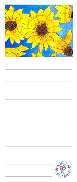 A notepad featuring sunflowers.