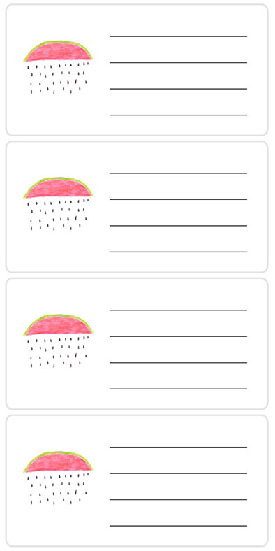 Stickers with address lines featuring watermelon.