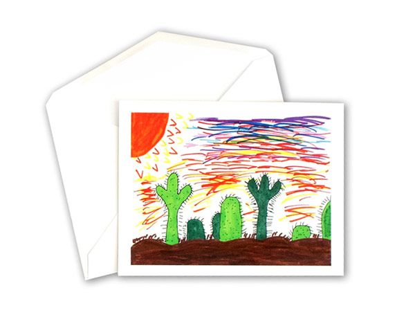 A note card featuring cactus artwork.