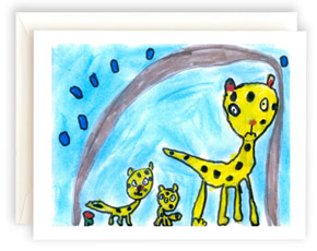 A note card featuring artwork with cheetahs.