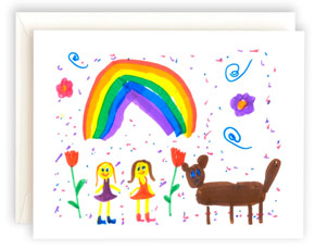 A note card featuring a rainbow, people and animal.
