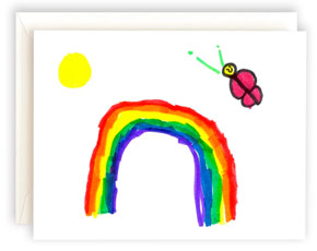 A note card featuring artwork with a rainbow and butterfly.