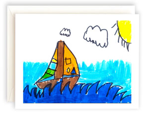 A note card featuring artwork with a sailboat.