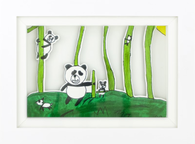 KidsArt, Inc. shadowbox featuring artwork of pandas.